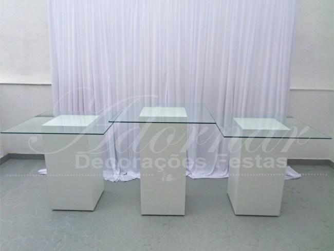 Trio Mesa Cubos Brancos