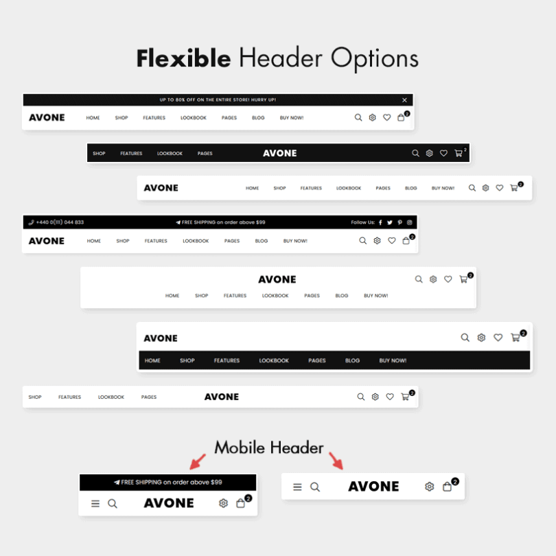 Flexible Header Styles