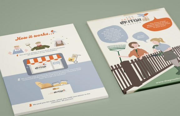 Illustration and design for printed material for The Great British Website, an ecommerce website selling British food and produce.