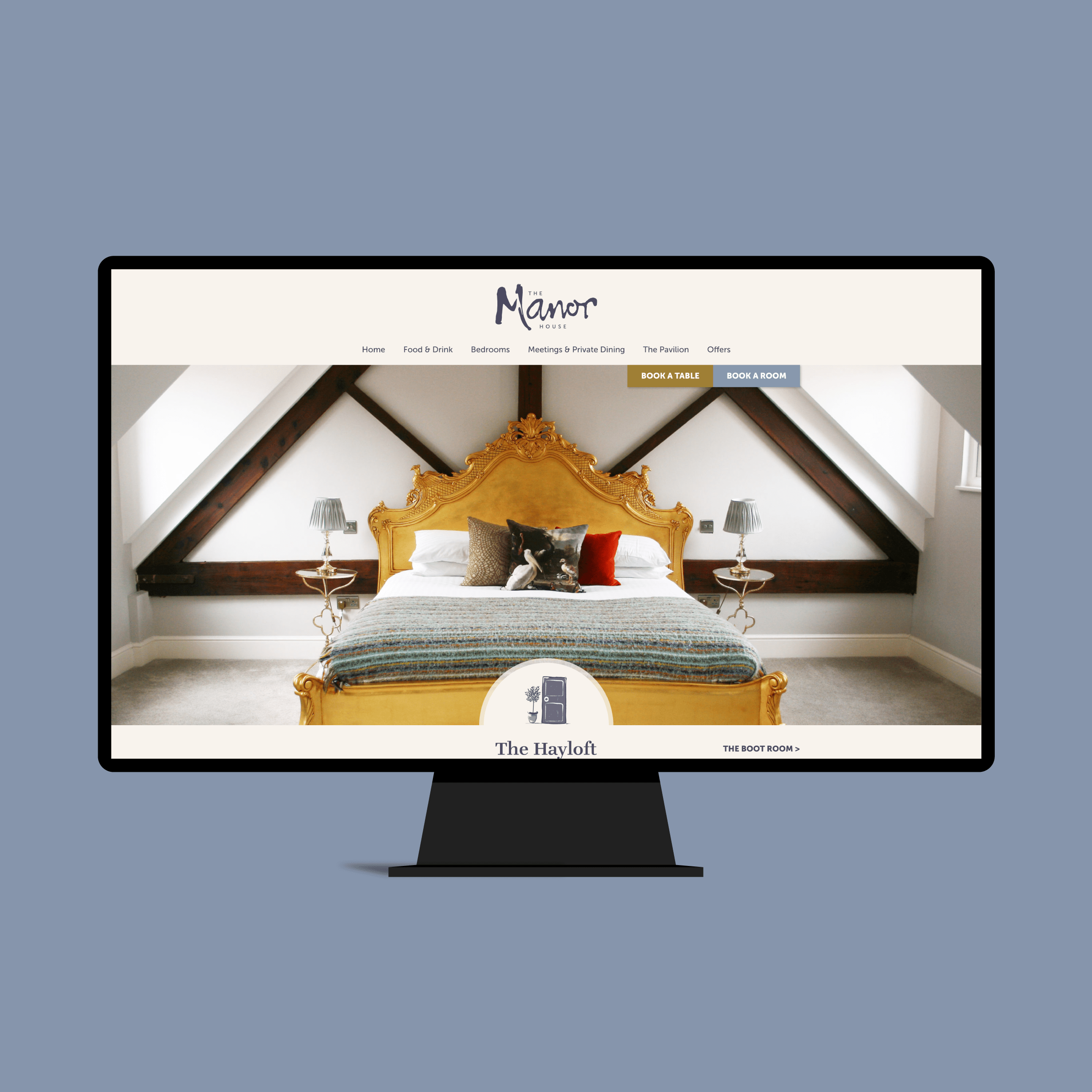 Website design for The Manor House restaurant with rooms in Quorn - showcasing the Hayloft room.