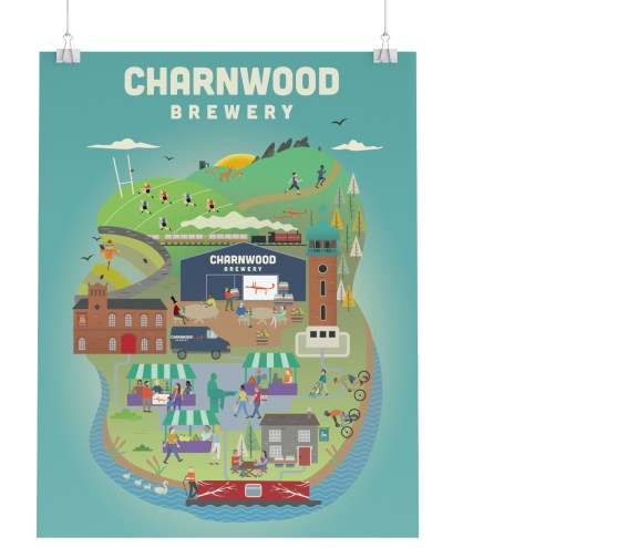 Illustrative Charnwood Brewery Poster showcasing the brewery, local pubs and customers.