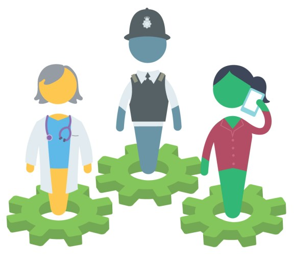 Users for the National Counter Trafficking service at Barnardo's ; a policeman, a doctor and a social worker.