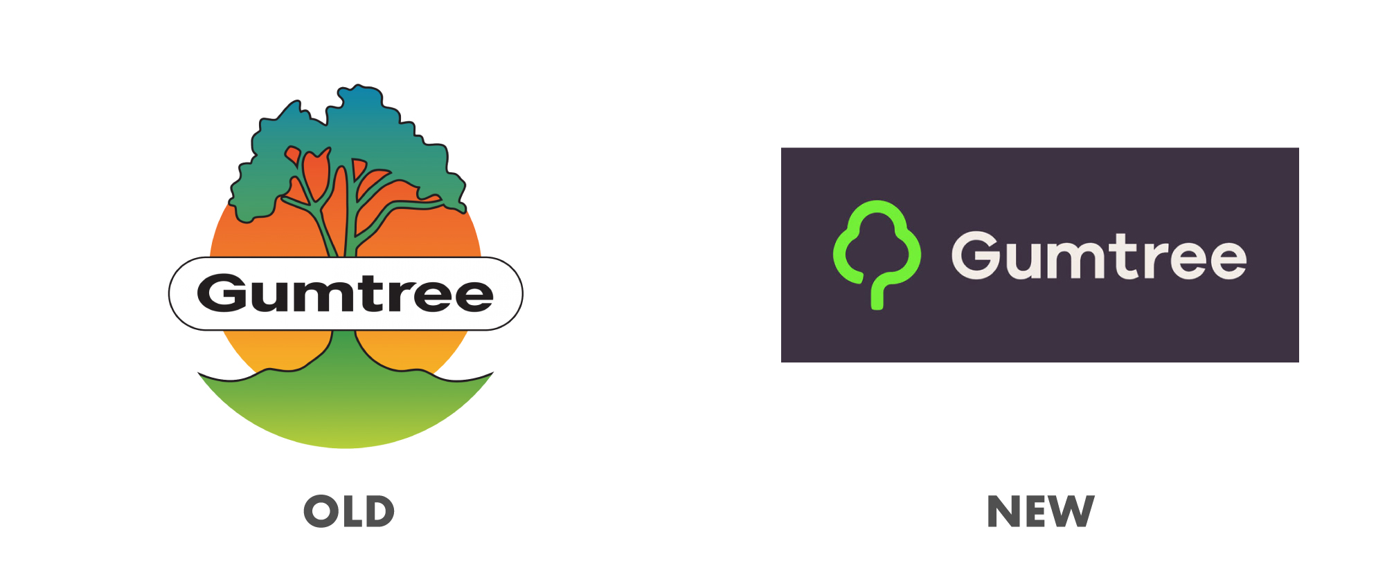 Successful rebrands - why they are successful. Old and new gumtree logos