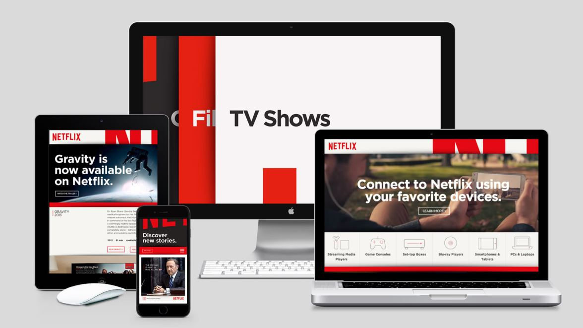 Netflix, a flexible brands - showcasing the difference on desktop, mobile and tablet.
