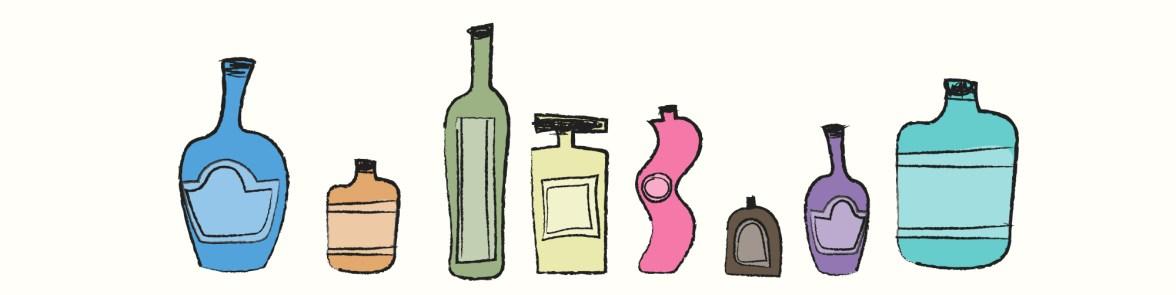 A row of perfume bottles - branding isn't just a logo.