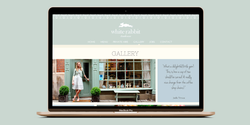 White Rabbit website, the gallery with photographs and testimonials.