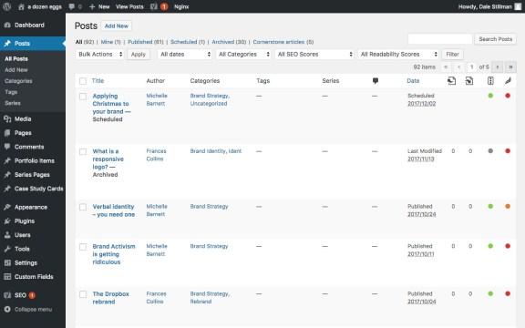 wordpress admin interface