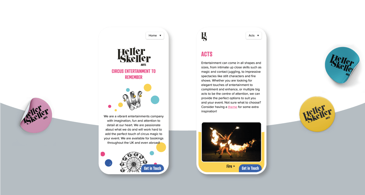 Helter Skelter arts website developed by a dozen eggs
