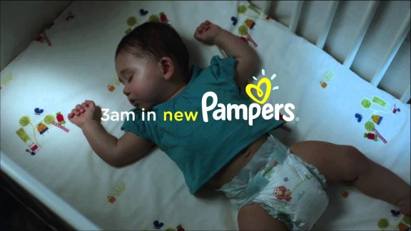 Pampers advert of a baby sleeping