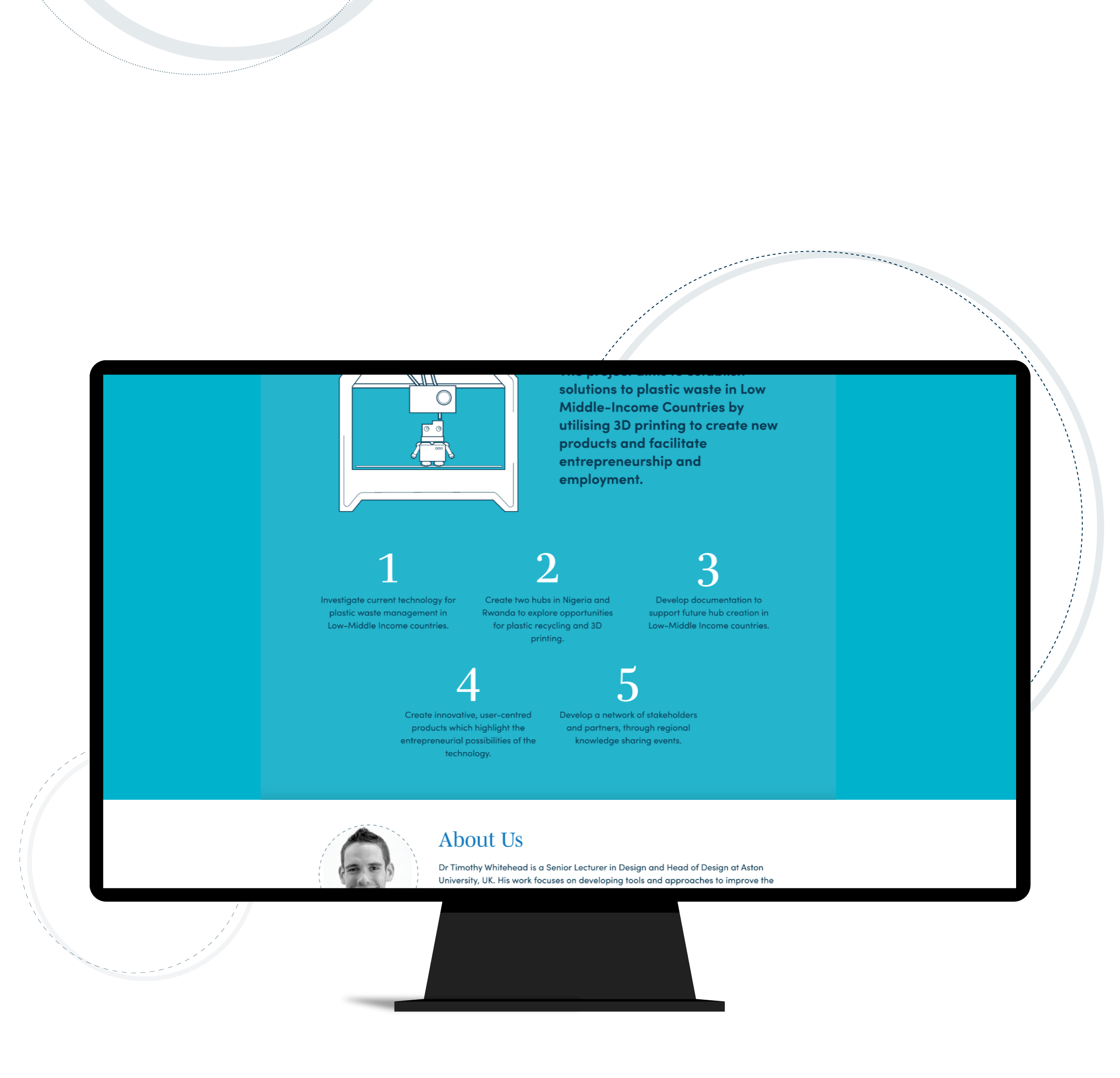Website design showing aims for the Circular Plastic project