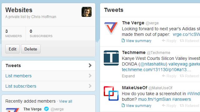 Using twitter lists for Content Distribution