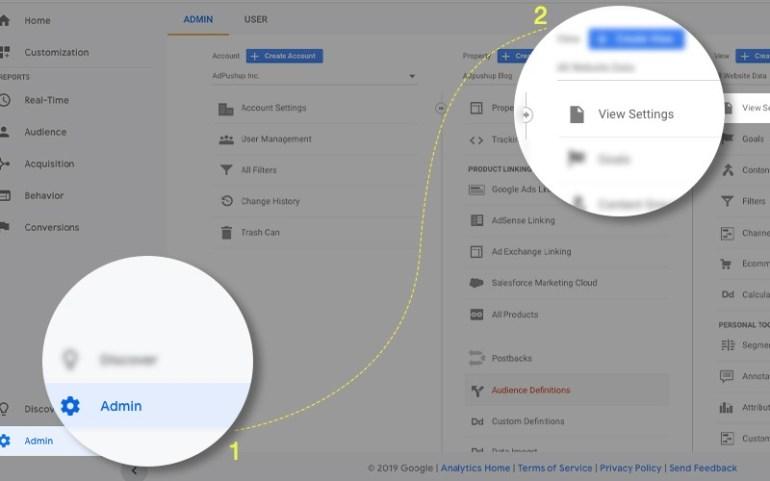enabling bot filtering in google analytics: step 1