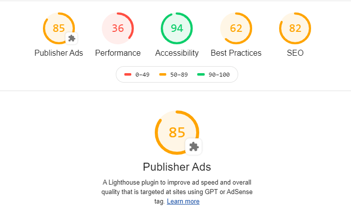 Publishers ads audit for lighthouse report