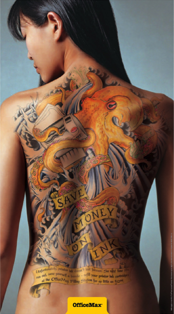 tattoo on the back of an apparently attractive Asian woman encourages