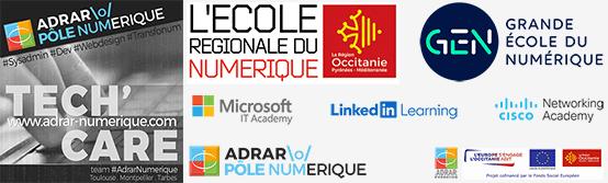 Nous sommes acteurs engagés dans l'ECOLE REGIONALE DU NUMERIQUE en Région Occitanie et sommes labellisés GRANDE ECOLE DU NUMERIQUE par le gouvernement depuis Février 2016