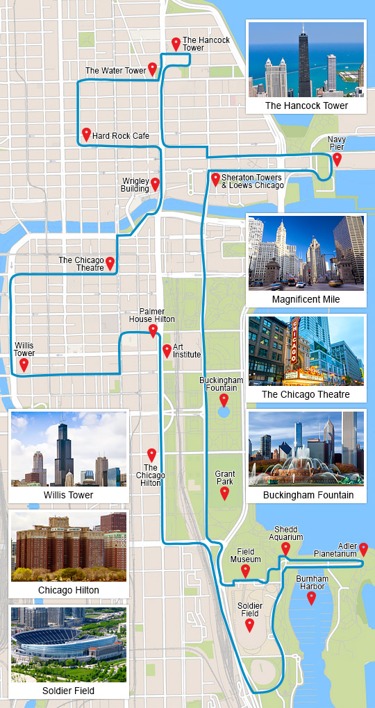 Chicago Map Tourist Sites | Leancy Travel on