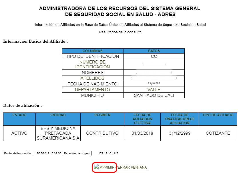 Certificado de la consulta ADRES por internet
