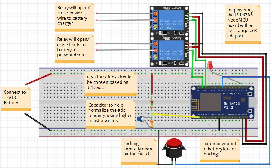 NodeMCU ESP8266 http relay control with 12v battery monitor and ...