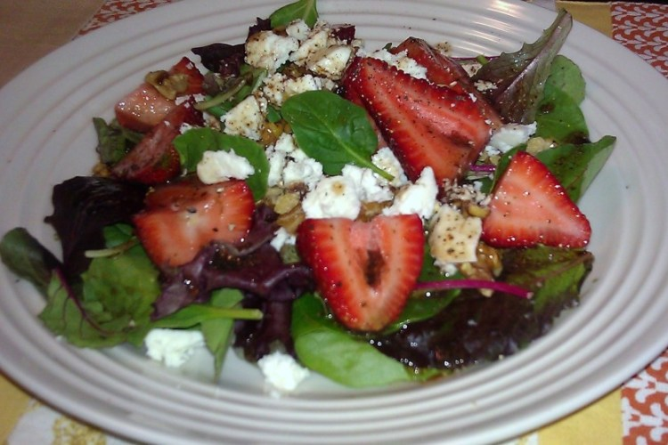 Strawberry Salad with raspberry dressing, feta cheese and walnuts