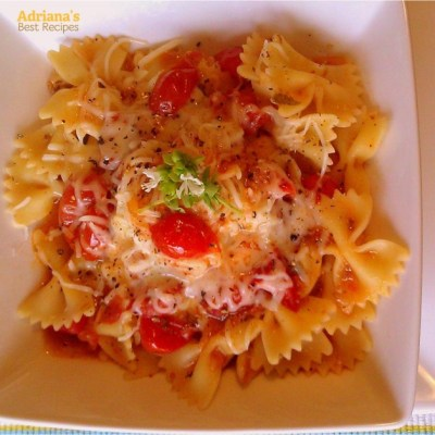 Tomato Farfalle and Basil Flowers