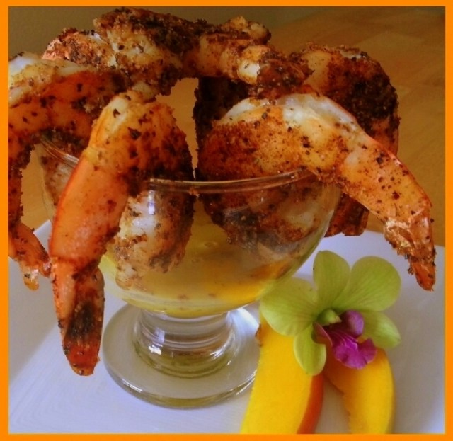 Grilled Shrimp with mango dipping sauce