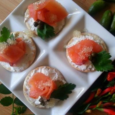 Citrus Caviar Salmon Bites