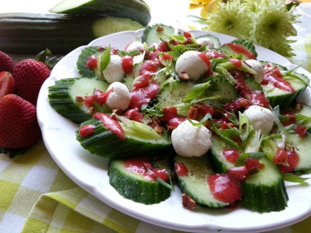 English Cucumber Salad with Feta cheese, Pecans and Strawberry Walnut Oil Dressing