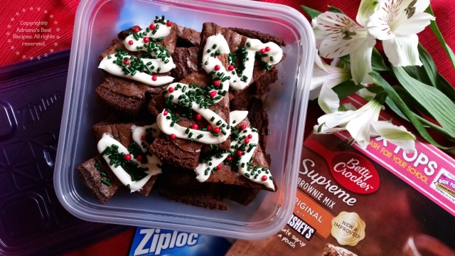 Bring this holiday brownies to your next potluck in a convenient Ziploc container #PlatefullCoOp #ad