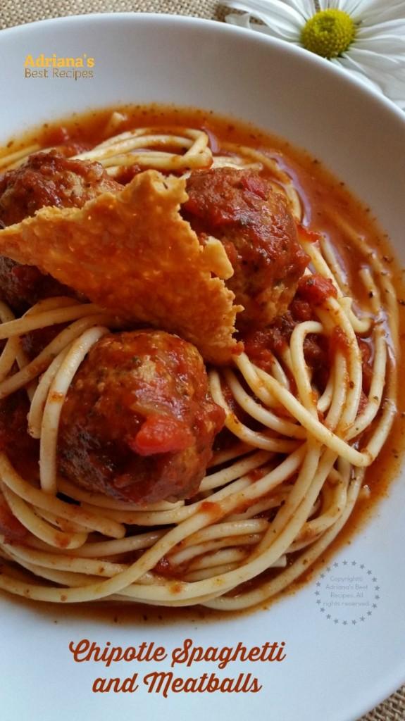 Chipotle Spaghetti and Meatballs recipe a finger licking dish #SeasonedGreetings #ad
