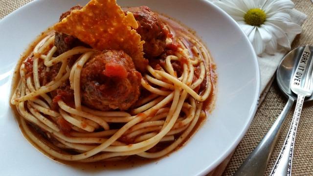 Chipotle Spaghetti and Meatballs seasoned with Tabasco Chipotle #SeasonedGreetings #ad