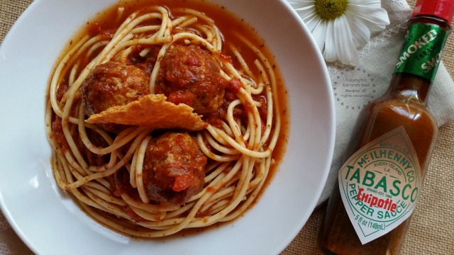 This Chipotle Spaghetti and Meatballs recipe is ready in 30 minutes #SeasonedGreetings #ad