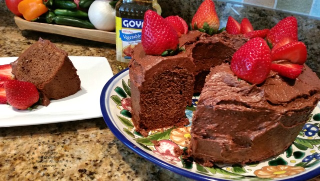 The pancake mix and the soybean oil have neutral flavors and make this Mexican Chocolate cake moist and tender to the bite #ABRecipes