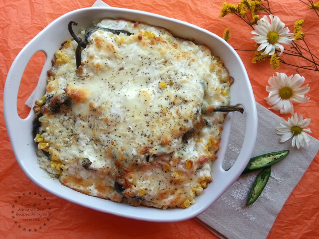 This Poblano Rice Casserole is creamy and with very mild flavor #LentenRecipes #ABRecipes