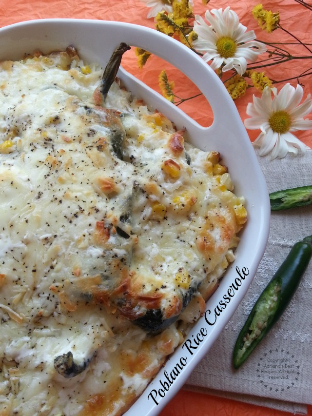 This Poblano Rice Casserole recipe is quintessential home cooking from my family kitchen to yours #LentenRecipes #ABRecipes