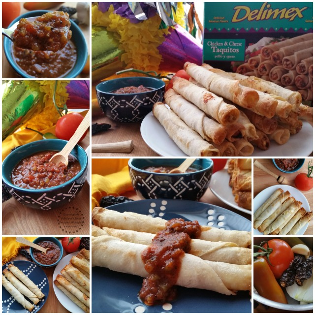 Chicken cheese taquitos garnished with a smoky chipotle tomato sauce #DelimexFiesta #ad