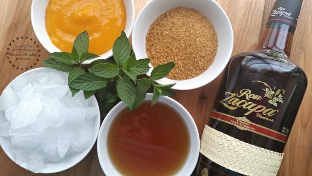 Ingredientes para el Julepe de Menta con Mango y Ron