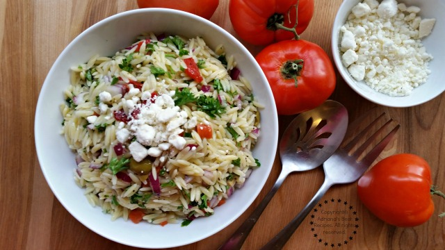 Finish the Greek Style Orzo Salad with crumbled feta cheese #ABRecipes