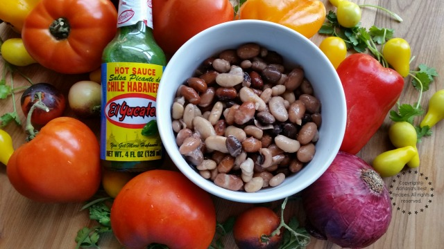 Ingredients for making the green habanero bean salsa #KingOfFlavor #ad