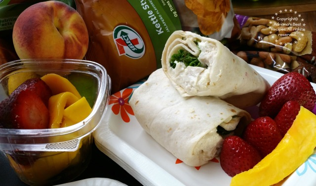Chicken Cesar Wrap with fresh mango slices and strawberries #7EFresh #ad