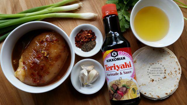 Ingredients for preparing the Teriyaki Chicken Chalupas #KikkomanSaborLBC #ad