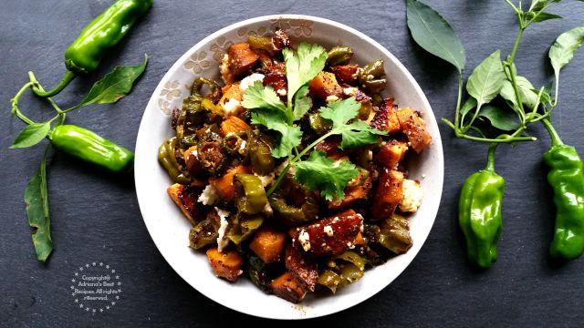Roasted Yams and Shishito Peppers Hash #KikkomanSaborLBC #ad