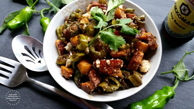 The inspiration behind this Roasted Yams and Shishito Peppers Hash are the southern flavors and my own vegetable garden #KikkomanSaborLBC #ad