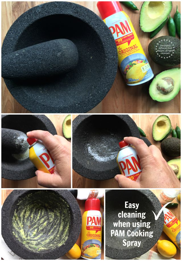 Chef Duran kitchen hack spray some PAM Cooking Spray to the molcajete before using #PAMCookingSpray #ad