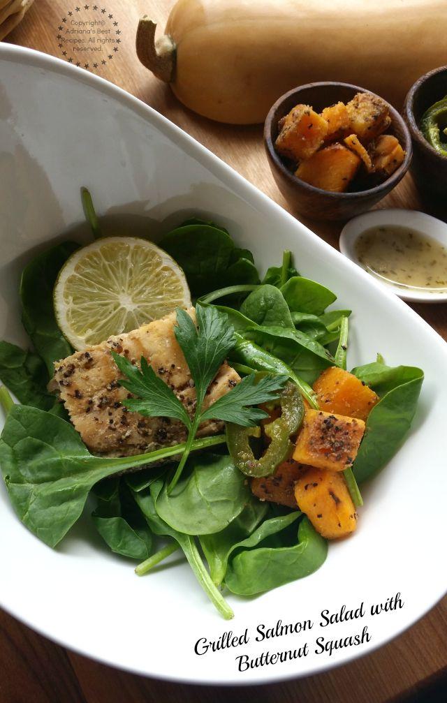 Grilled Salmon Salad with Butternut Squash recipe available at Amigas de Comida KRAFT #ComidaKraft #ad