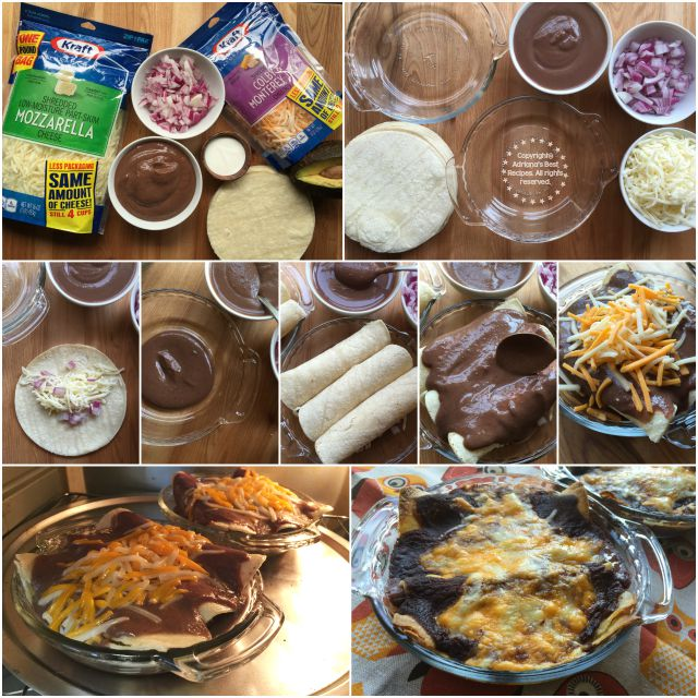 The ingredients for the enchiladas include beans, cheese, onion, corn tortillas, and cheese