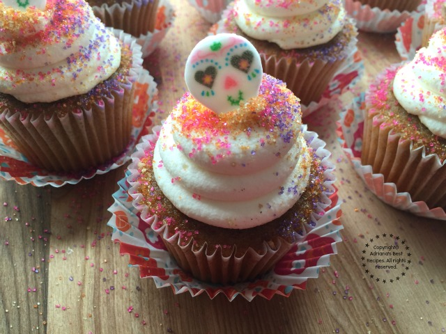 Easy Sugar Skull Pumpkin Cupcakes for Day of the Dead