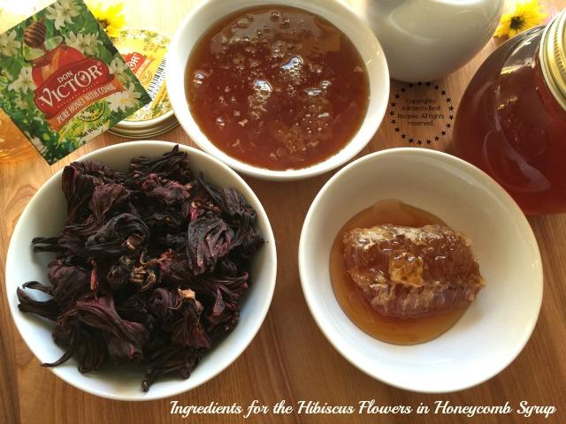 Ingredients for the Hibiscus Flowers in Honeycomb Syrup #HoneyForHolidays