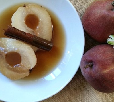 Poached Red Anjou Pears in Cinnamon Syrup