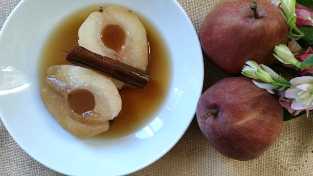 Poached Red Anjou Pears in Cinnamon Syrup simple and humble yet cozy dessert