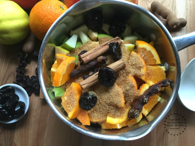 This ponche is made with seasonal fresh and dried fruits